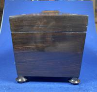 William IV Rosewood Tea Caddy with Mother of Pearl & Pewter Inlay (8 of 8)