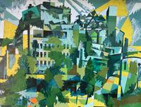 Original Oil on Board 'Let Grow Trees in the Silted Streets and on the Buildings Weeds' by Ken Walch 1928-2017. Signed & Dated 1969 (2 of 2)