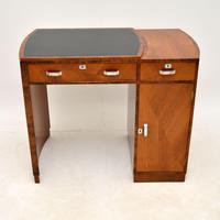 Art Deco Figured Walnut & Leather Desk (2 of 12)