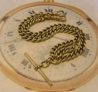 Antique Pocket Watch Chain 1890s Victorian large Brass Double Albert With T Bar (2 of 12)