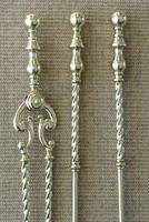 Quality Victorian Brass Fire Irons Companion Set Tongs Poker Shovel c.1895
