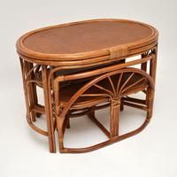Vintage 1970's Bamboo & Rattan Games Table & Chairs (4 of 12)