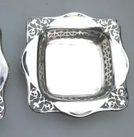 Unusual Pair of Solid Silver Pierced Square Bonbon Dishes Chester c.1927 (6 of 8)