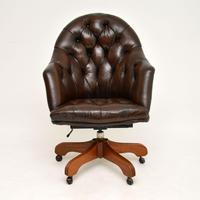 Georgian Style Leather Swivel Desk Chair (2 of 8)