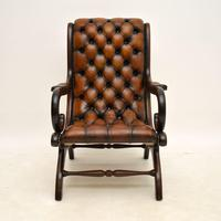 Regency Style Leather Armchair & Stool (3 of 14)