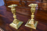 Pair of Short, Cast Brass Neoclassical Candlesticks. Regency Period c.1820 (3 of 4)