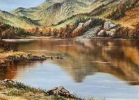 Original 20th Century Snowdonia Lake North Wales Welsh Mountain Landscape Oil Painting (6 of 12)