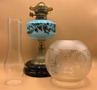 Quality 19thc Victorian Twin-Burning Duplex Porcelain & Ceramic Table Oil Lamp (2 of 12)