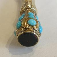 Victorian Gold Turquoise-set Pencil with Bloodstone Terminal (3 of 5)