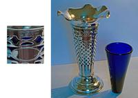Edwardian Silver Trumpet Shaped Vase with Blue Glass Liner - Chester 1901 (2 of 4)
