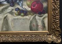 Fabulous 1960 Vintage Antique Still Life Of Fruit Study Oil On Canvas Painting (10 of 12)
