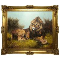 Fine Art Vintage 20th Century Oil Canvas Painting Recumbent Lion Portrait Signed (2 of 12)