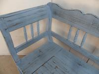 Stunning Sky Blue 3 Seater Antique Pine Kitchen / Hall Box Settle / Bench (6 of 11)