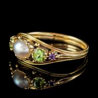 Antique Suffragette Ring Pearl Amethyst Peridot 18ct Gold Locket Back c.1910 (5 of 7)