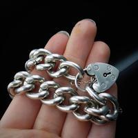 Vintage Heavy Chunky Heart Padlock Sterling Silver Curb Bracelet (9 of 10)