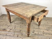 Antique Pine Farmhouse Kitchen Table with Oak Top (5 of 9)