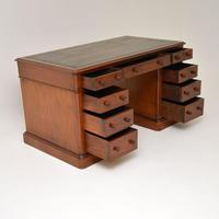 Antique Victorian Mahogany Leather Top Pedestal Desk (4 of 12)
