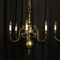 English Pair of 6 Light Antique Chandeliers (2 of 10)