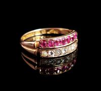 Antique Victorian Ruby, Diamond and Pearl Ring, Double Row, 15ct Gold (8 of 12)
