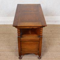 Oak Monks Bench Settle Carved Folding Hall Arts & Crafts (12 of 12)