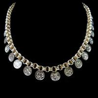 Antique Victorian Aesthetic Coin 18ct Yellow Gold on Sterling Silver Chain Collar Necklace (9 of 12)