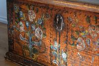 19th century painted pine coffer with floral artwork to the front (4 of 19)