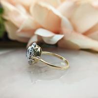 Vintage 18ct Gold Aquamarine & Diamond Cluster Ring, 18k Dress Cocktail Statement (8 of 12)