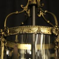 French Convex Gilded Twin Light Antique Lantern (3 of 10)