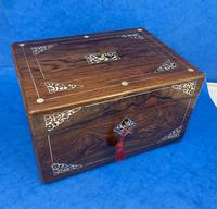 William IV Rosewood Jewellery Box Inlaid with Beautiful Mother of Pearl (10 of 14)