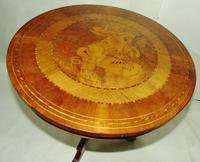 Italian Sorrento Walnut Inlaid Tripod Table