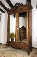 Antique French Carved Armoire Housekeepers 2 Door Mirrored Wardrobe