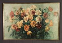 Signed Early 20th Century Large French Oil on Canvas Bouquet of Roses (2 of 8)
