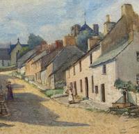 Large Original Edwardian Antique Yorkshire Hamlet Landscape Watercolour Painting (10 of 13)