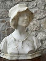Alabaster Bust of Young Girl Wearing a Bonnet (23 of 25)