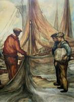 Cornish School - Large early 1900s Oil Painting of Fishermen Pulling in the Nets (4 of 14)