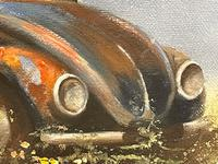 """Oil Painting """"Unloved Abandoned VW Beetle Car"""" Signed David Robert (9 of 27)"""