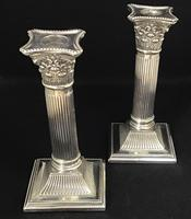 Pair of Square Base Late Victorian Silver Plate Corinthian Column Candlesticks (6 of 6)