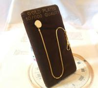Vintage Pocket Watch Chain 1970s 12ct Gold Plated with Ornate Button Fob Nos (3 of 10)