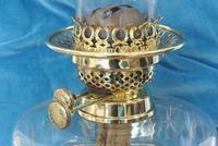 Original Art Nouveau Cut Glass & Brass Oil Lamp - Working Order c.1910 (3 of 9)