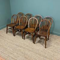 Eight Country House Elm Antique Kitchen Chairs (7 of 8)