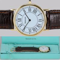 Vintage Tiffany & Co 14ct Solid Gold 31mm Slim Thin Men's / Ladies Quartz Watch with box (2 of 15)