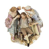 Late 19th Century Meissen Group of Two Women Tormenting a Male (6 of 7)