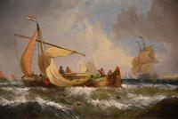 """Oil Painting Pair by William Calcott Knell """"Fishing Boats of the Dutch Coast"""" (4 of 9)"""