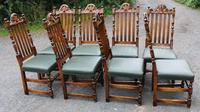 1960s Carved Oak Refectory Table with Set 8 Dining Chairs Green Upholstery (9 of 10)