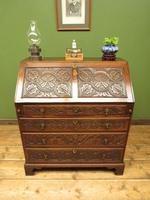 Antique Carved Oak Writing Bureau Desk with Fall Front, Handsome Gothic Piece (17 of 24)