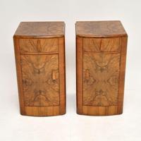 Pair of Art Deco Figured  Walnut Bedside Cabinets (2 of 10)