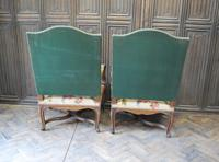 Pair of French Regence Carved Walnut Library Fauteuils (9 of 9)