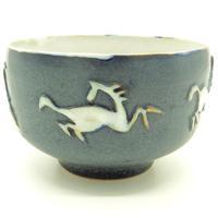 Good British Art Studio Pottery Bowl with Stylised Galloping Horses 20th Century