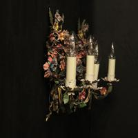 French Pair of Toleware Floral Wall Lights (10 of 10)