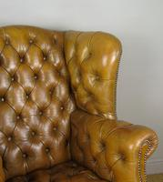 Superb Antique Buttoned Leather Wing Armchair (6 of 11)